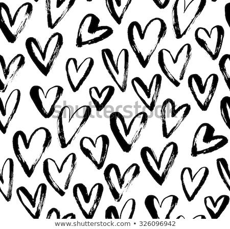 kézzel · rajzolt · szívek · minta · végtelenített · ismétlés · feketefehér - stock fotó © sonya_illustrations