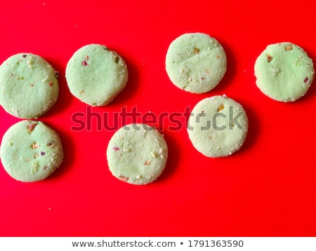 Foto stock: Matcha powder and candy made of matcha on wooden background. Homemade Matcha