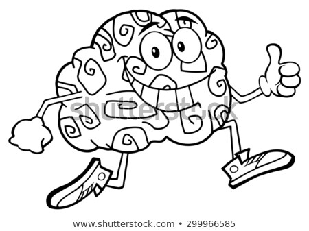 Black And White Brain Cartoon Character Jogging And Giving A Thumb Up Stock photo © hittoon