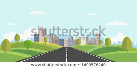 Roadside with Modern Cityscape View Stock photo © colematt