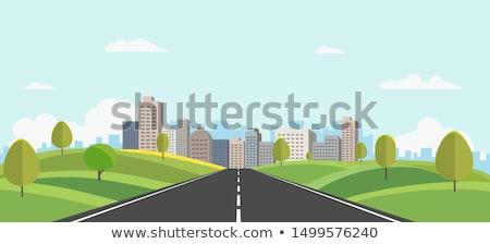 Przydrożny nowoczesne Cityscape widoku ilustracja miasta Zdjęcia stock © colematt