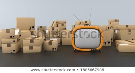 Laranja tv expedição mesa de madeira ilustração 3d compras Foto stock © limbi007