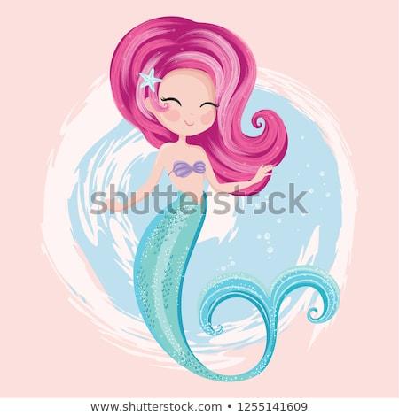 Weinig blijde zeemeermin mooie vergadering zee Stockfoto © liolle
