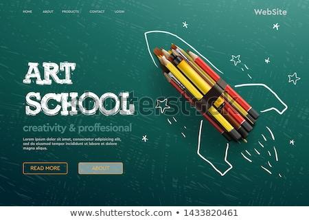 kleurrijk · terug · naar · school · onderwijs · cartoon · gebouw · schoolbus - stockfoto © ikopylov