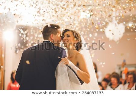 Eerste dans bruid bruidegom bruiloft partij Stockfoto © robuart