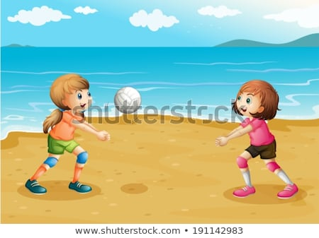 Smiling People Playing Volleyball on Beach Vector Stock photo © robuart