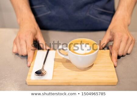 Tasse cappuccino faible cuillère papier Photo stock © pressmaster