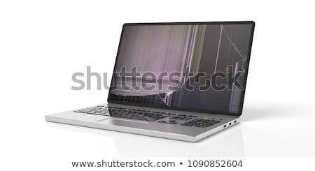 Uszkodzony laptop podziale ekranu pracy Zdjęcia stock © AndreyPopov