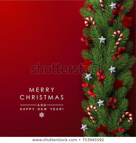 Karácsonyi üdvözlet díszített fenyőfa karácsony üdvözlőlap copy space Stock fotó © karandaev