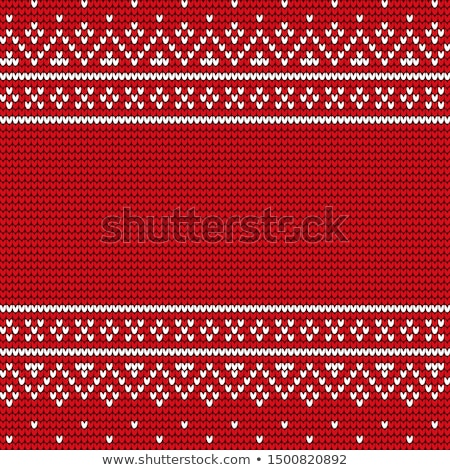 Xmas Embroidery, Snowy Ornament on Cloth Vector Stock photo © robuart