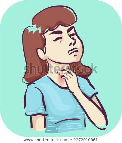 Fille gorge symptôme illustration femme médicaux Photo stock © lenm