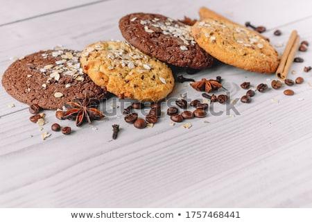 Friss sült zab sütik halom rusztikus Stock fotó © marylooo