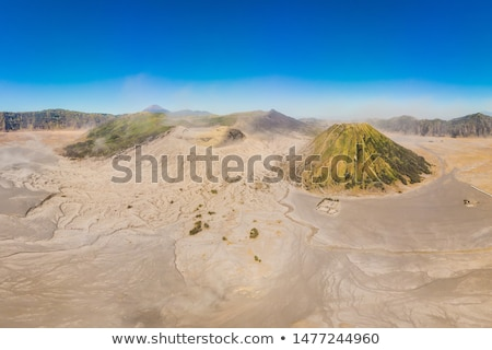 Panoramic Aerial shot of the Bromo volcano and Batok volcano at the Bromo Tengger Semeru National Pa Stock photo © galitskaya