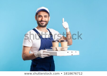indian man with takeaway pizza showing thumbs up Stock photo © dolgachov