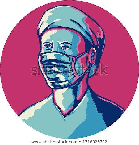 медсестры маске Cap круга ретро Сток-фото © patrimonio