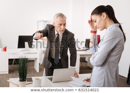 Boss сердиться секретарь компьютер женщину синий Сток-фото © photography33