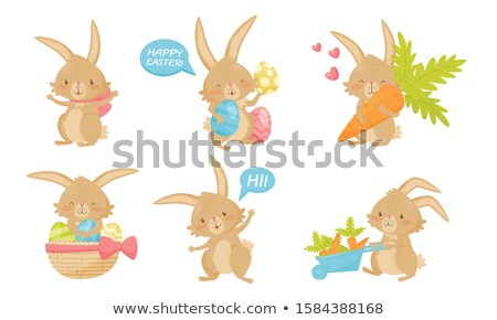 eastern eggs in different colours in a basket with a rabbit Stock photo © juniart