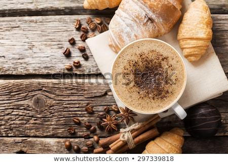 friss · reggeli · kávé · sütemény · sült · természetes - stock fotó © keko64