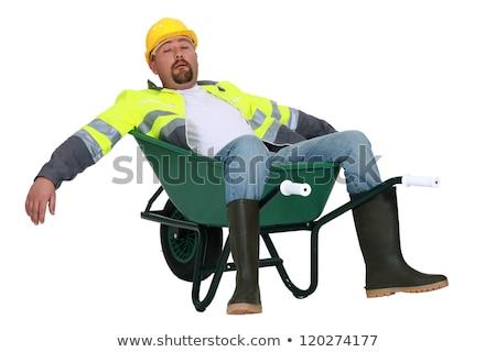 исчерпанный строителя тачка дороги человека Сток-фото © photography33