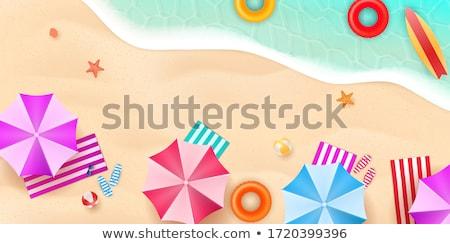 пляж летнее время мнение стульев небе Сток-фото © prg0383