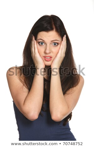 Anxious woman holding white sign Stock photo © photography33