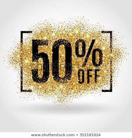 Golden fünfzig Prozent Zeichen isoliert weiß Stock foto © grasycho
