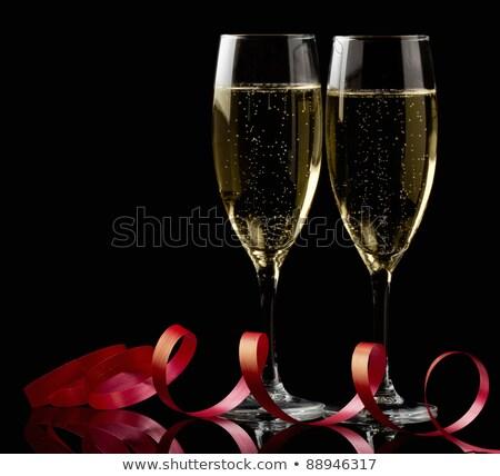 очки · шампанского · лента · Рождества · фары - Сток-фото © luckyraccoon