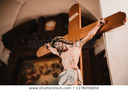 Jesus on a cross in the church Stock photo © gsermek