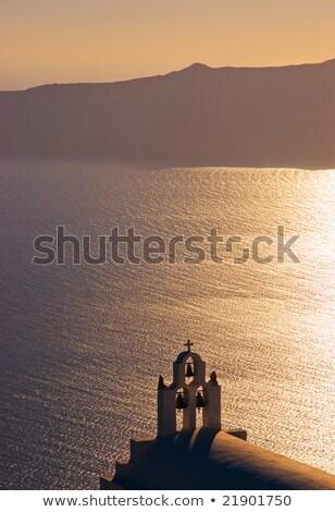 Santorini · sziget · éjszaka · gyönyörű · égbolt · víz - stock fotó © elxeneize