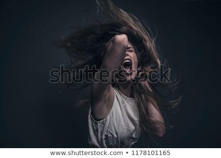 belle · femme · peur · anxieux · portrait · isolé - photo stock © ilolab