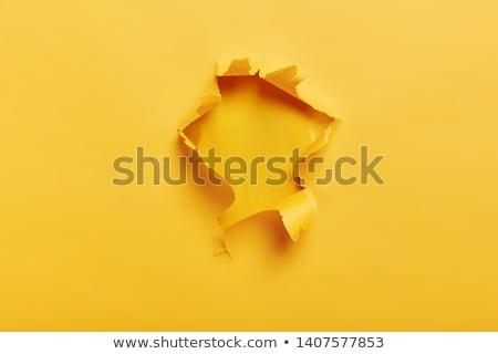 Papel rasgado amarelo espaço texto isolado branco Foto stock © impresja26