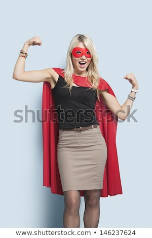 Young blond woman in a red and blue outfit Stock photo © dash