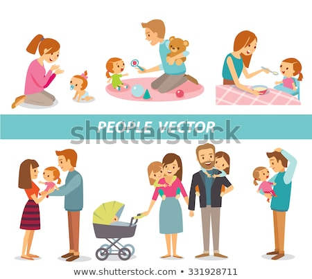 Mom and dad caring for baby Stock photo © d13