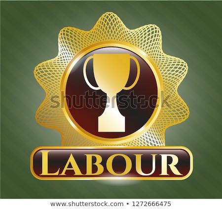 Labour Golden Vector Icon Button Stock photo © rizwanali3d
