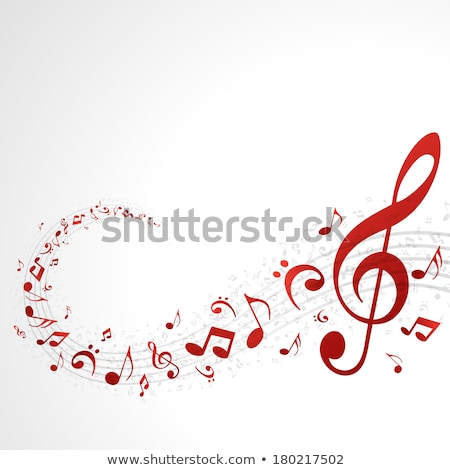 Stock photo: Music Notes Red Bright Background