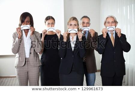 Stockfoto: Zakenvrouw · triest · witte · vrouw