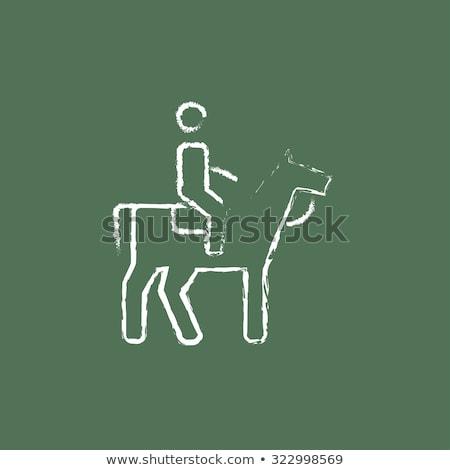 Horse riding icon drawn in chalk. Stock photo © RAStudio