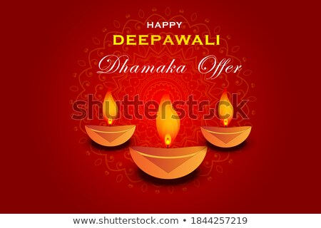 Stock photo: abstract artistic red golden diwali