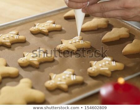 Gingerbread man tepsi mutfak Retro beyaz Stok fotoğraf © Zerbor