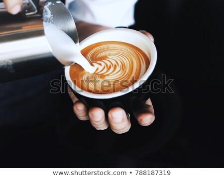 Kávé párolt tej csésze fahéj kanál Stock fotó © Digifoodstock