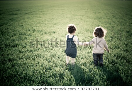 Kids at green meadow holding hands Stock photo © Paha_L