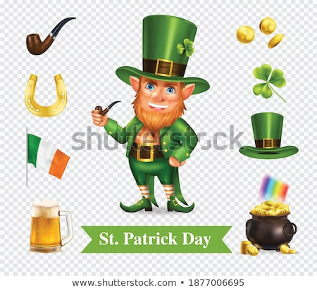 Patrick hat full of clover. Patrick green hat with gold buckle Stock photo © orensila