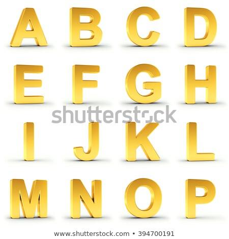 Set golden Alphabet weiß Stück Stock foto © creisinger