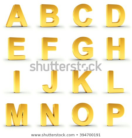 Set of golden alphabet from A to P over white Stock photo © creisinger