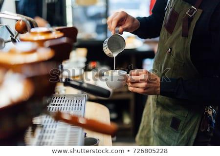 Barista illusztráció fehér férfi munka dolgozik Stock fotó © bluering