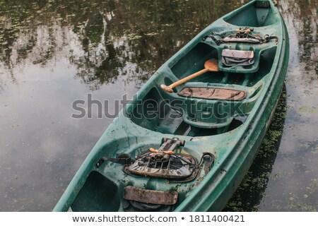 зеленый пластиковых каноэ озеро лет после полудня Сток-фото © stevanovicigor