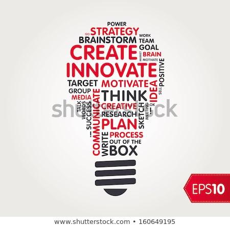 Glühbirne Wort Erfolg Holztisch Büro Schule Stock foto © fuzzbones0