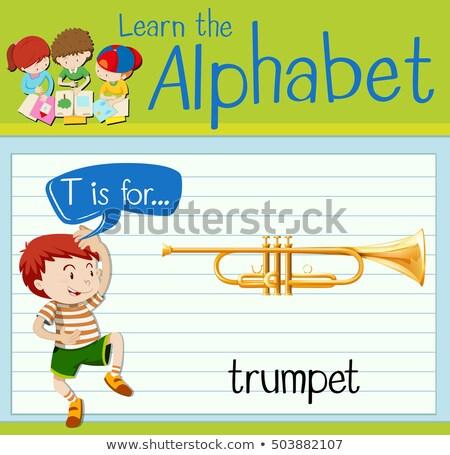 Alfabeto trombeta ilustração música crianças criança Foto stock © bluering