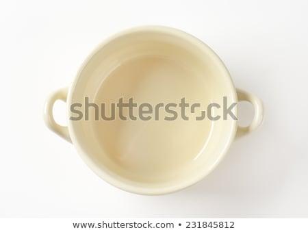 Lege beige kom witte schotel eenvoudige Stockfoto © Digifoodstock