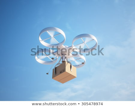 illustration of Delivery drone with the package Stock photo © tussik